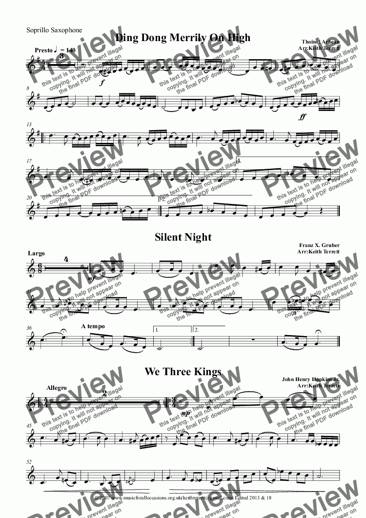 page one of the Soprillo Saxophone part from 8 Swinging Xmas Carols for Bb Soprillo/Soprano Saxophone  & Keyboard