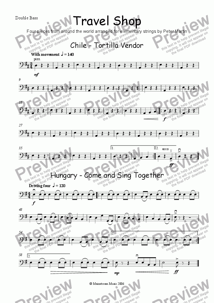 page one of the Double Bass part from Travel Shop