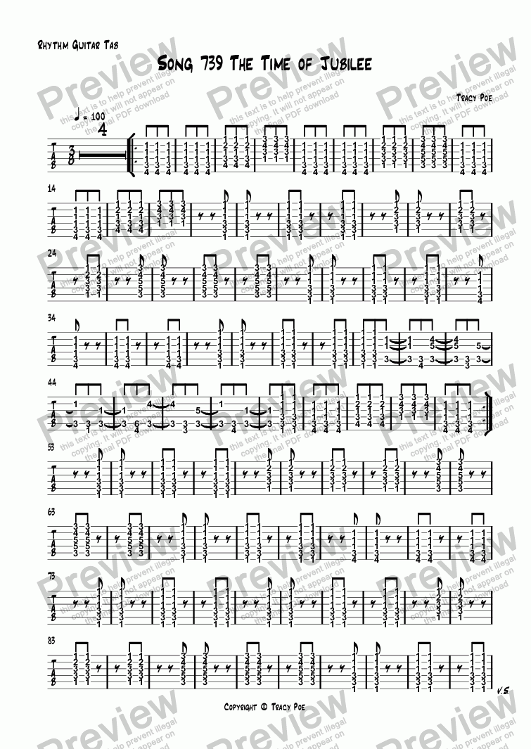 page one of the Rhythm Guitar Tab part from Song 739 The Time of Jubilee
