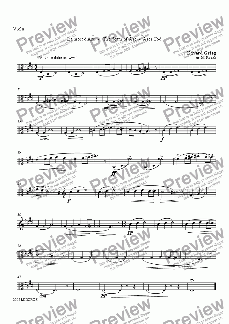 page one of the Viola part from Peer Gynt Suite No 1 - The Death of �se