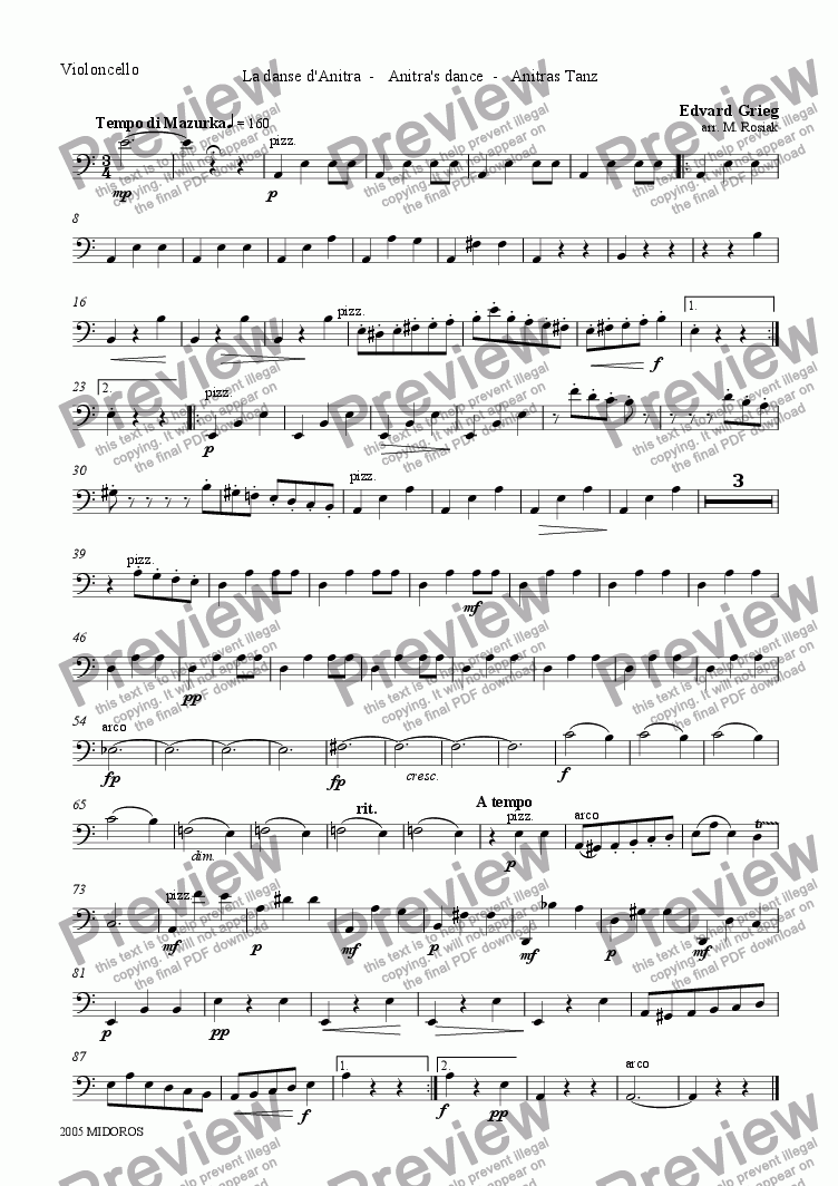 page one of the Violoncello part from Peer Gynt Suite No 1 - Anitra's Dance