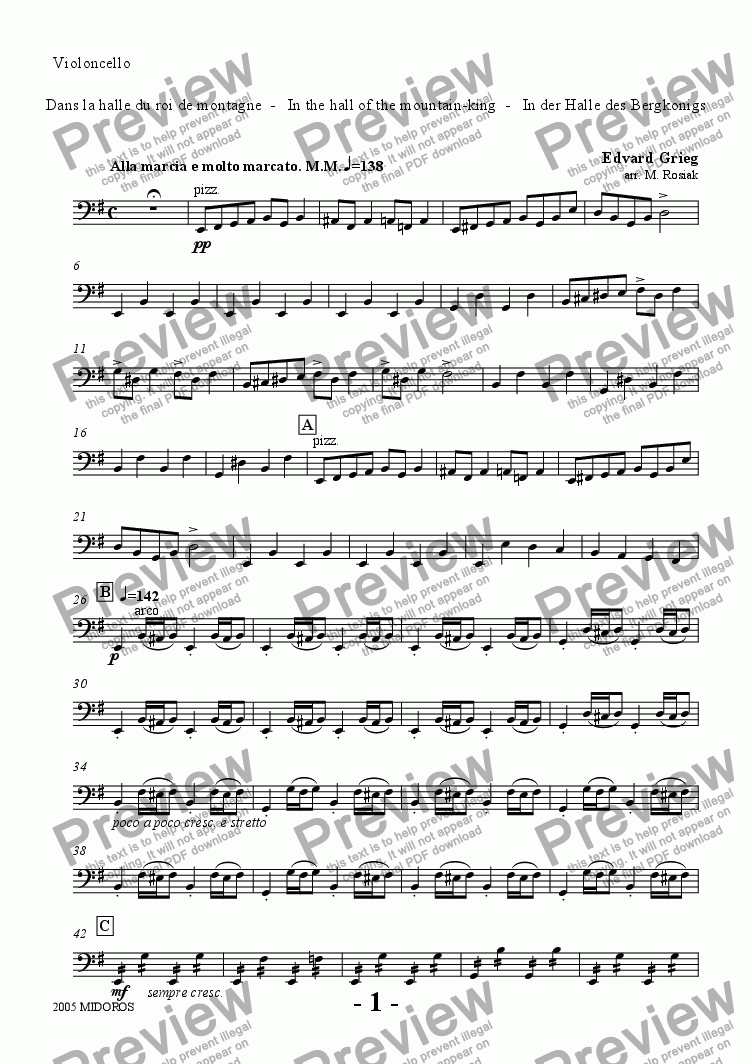 page one of the Violoncello part from Peer Gynt Suite No 1 - In the Hall of the Mountain King