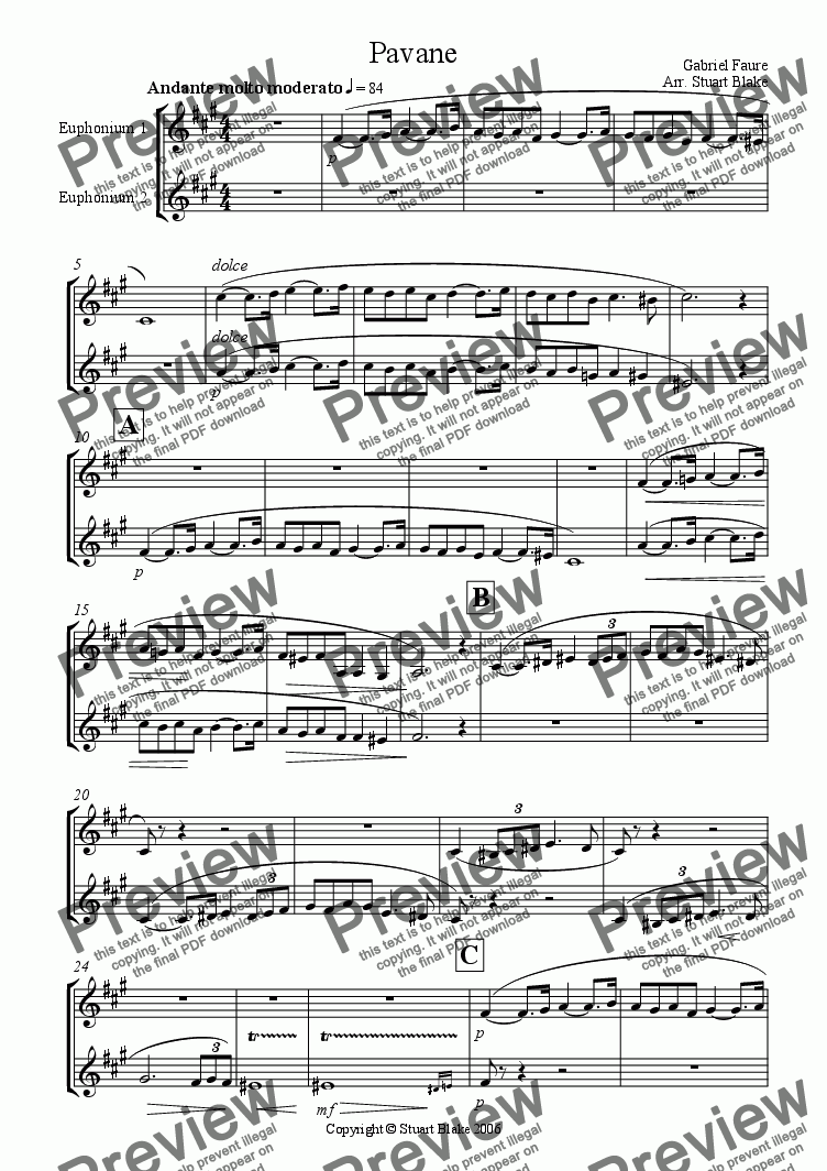 page one of the Euphs 1 & 2 (Treble Clef) part from Pavane (Euphonium Duet with piano)