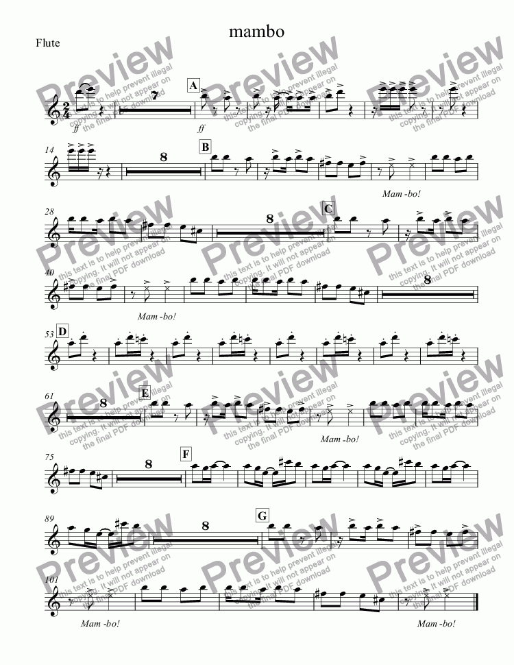page one of the Flute part from mambo