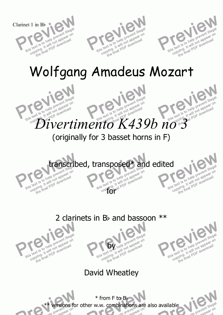 page one of the Clarinet 1 in Bb part from Mozart - Divertimento K439b no 3 for 2 clarinets and bassoon transcribed by David Wheatley