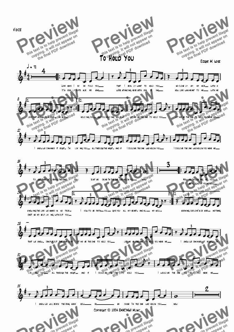 page one of the Solo Voice part from To Hold You