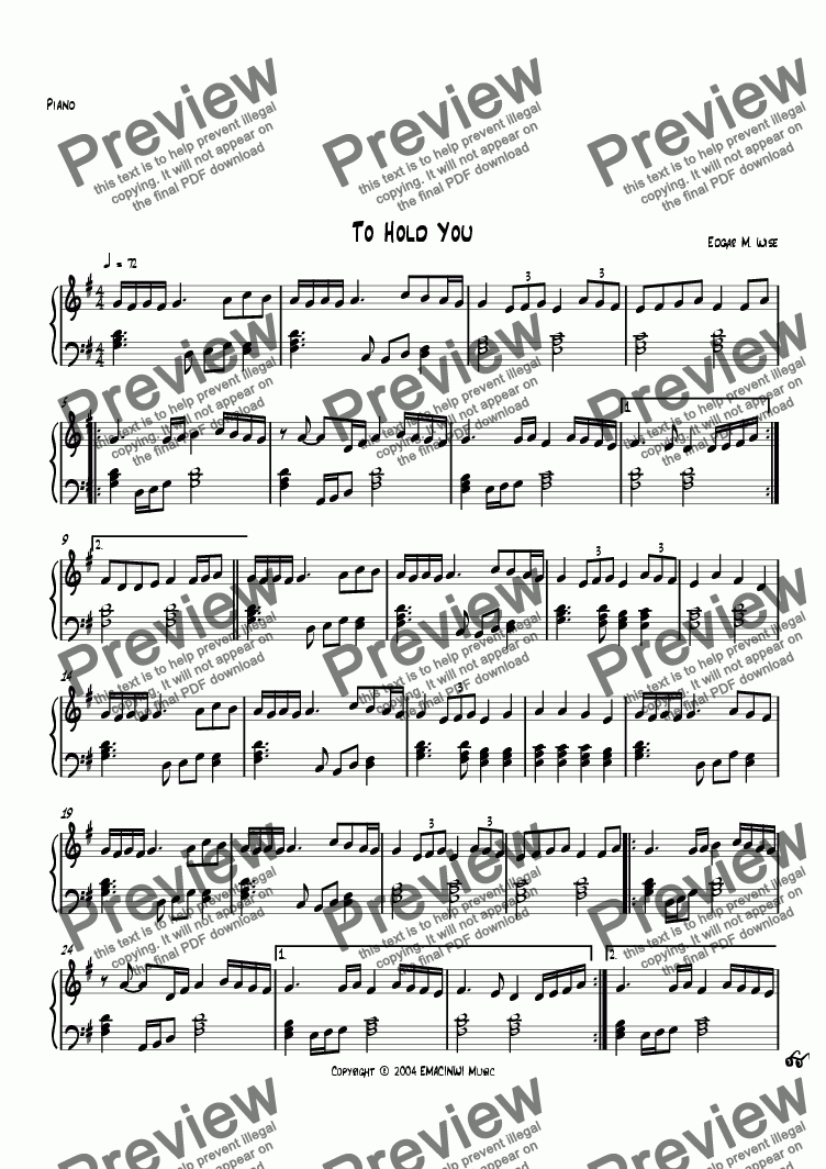 page one of the Piano part from To Hold You