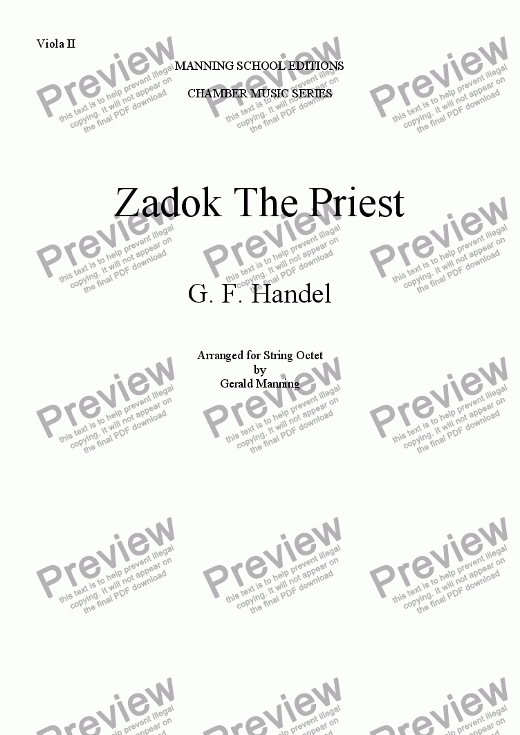 page one of the Viola II part from HANDEL, G.F. - Zadok The Priest - arr. for String Octet by Gerald Manning