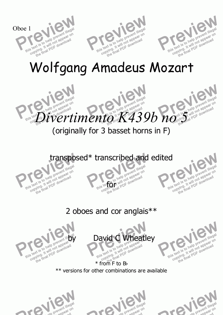 page one of the Oboe 1 part from Mozart - Divertimento K439b no 5  for 2 oboes and cor anglais transcribed by David Wheatley