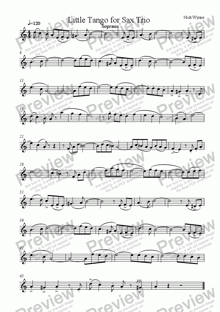 page one of the Soprano Saxophone part from Little Tango Verdadero for Sax Trio
