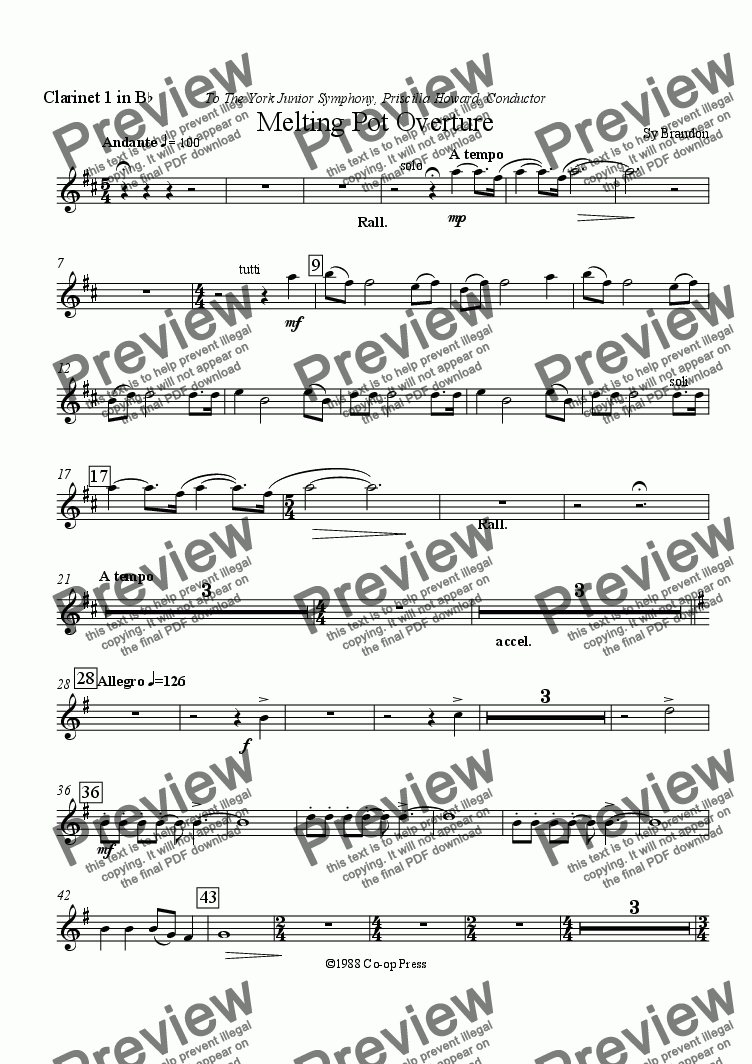 page one of the Clarinet 1 in Bb part from Melting Pot Overture