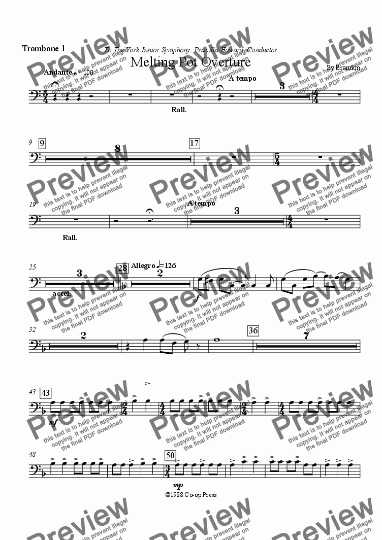 page one of the Trombone 1 part from Melting Pot Overture