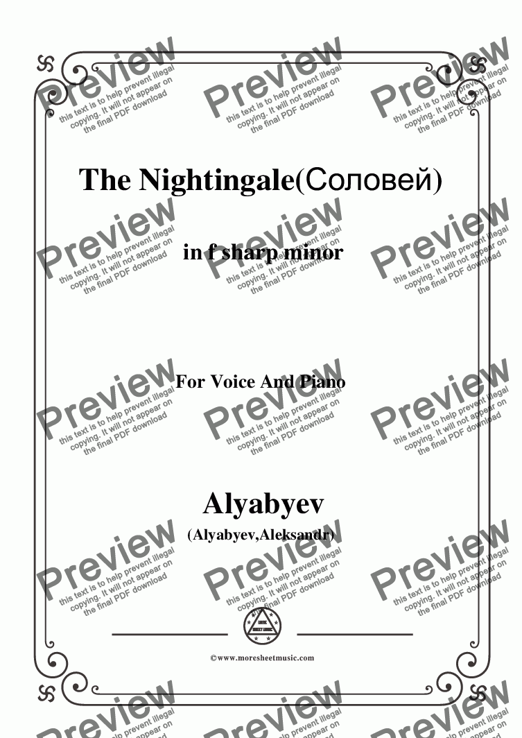 page one of the C00377W0001N05Alyabyev-The Nightingale(Соловей) in f sharp minor, for Voice and Piano - Score and parts part from Alyabyev-The Nightingale(Соловей) in f sharp minor, for Voice and Piano