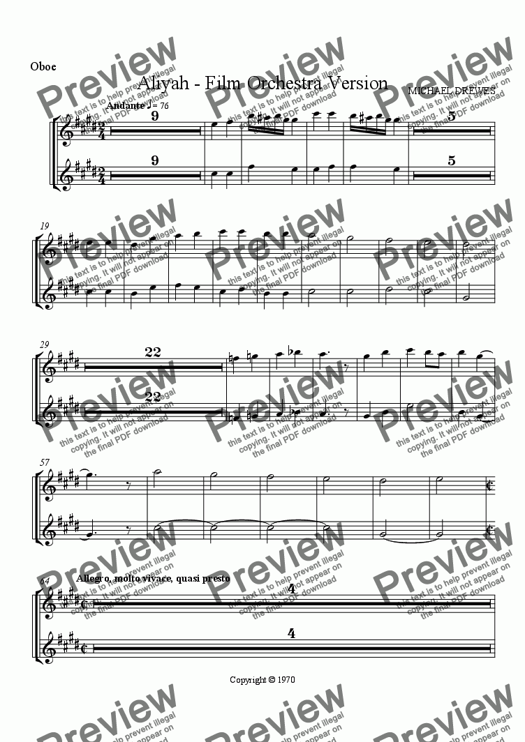 page one of the Oboes part from Aliyah - A Symphonic Movement for Film Orchestra