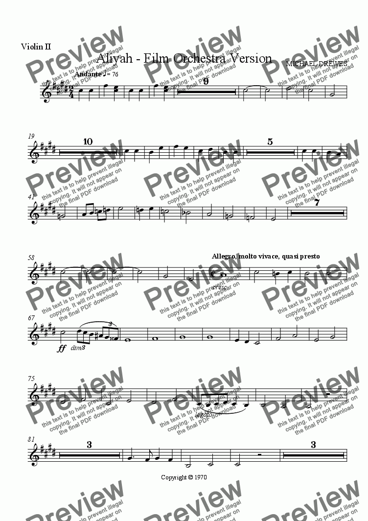 page one of the Violin II part from Aliyah - A Symphonic Movement for Film Orchestra