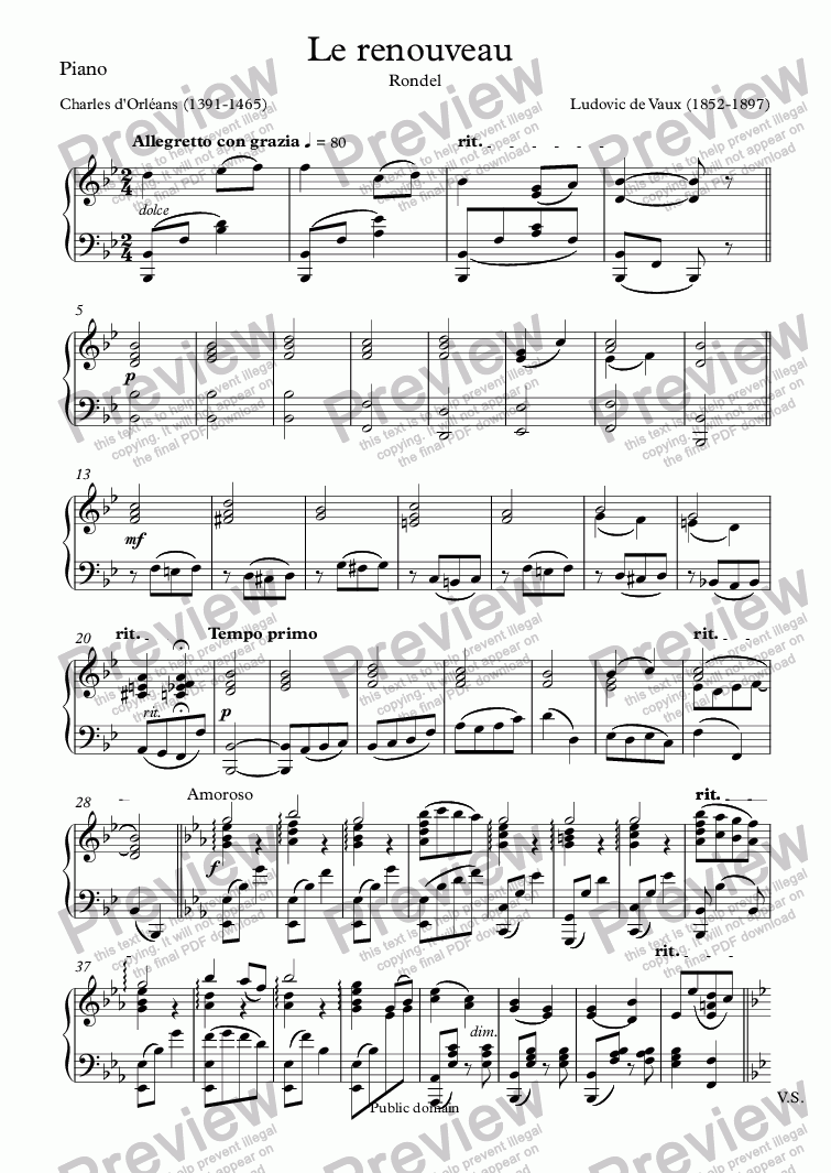 page one of the Piano part from Le renouveau  (Ludovic de Vaux / Charles d'Orléans)