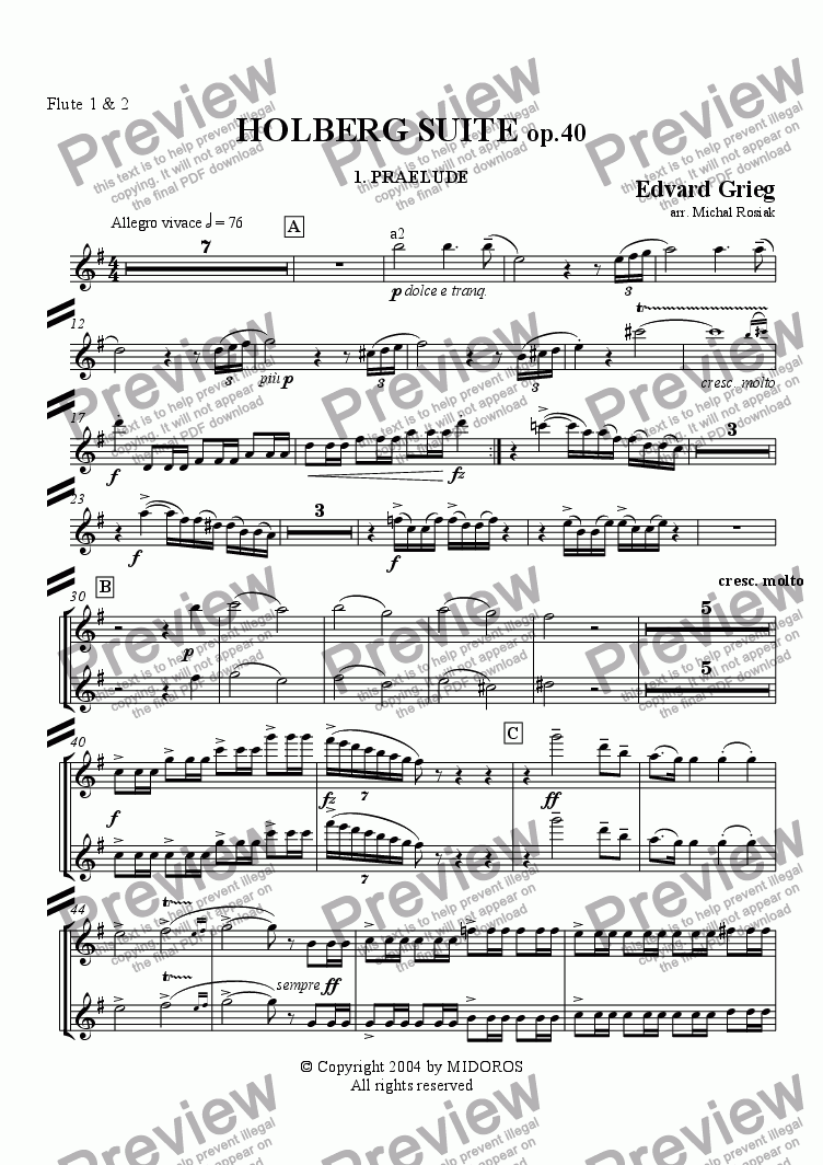 page one of the Flutes 1 & 2 part from Holberg Suite op.40 Prelude