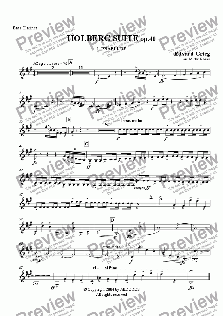 page one of the Bass clarinet part from Holberg Suite op.40 Prelude