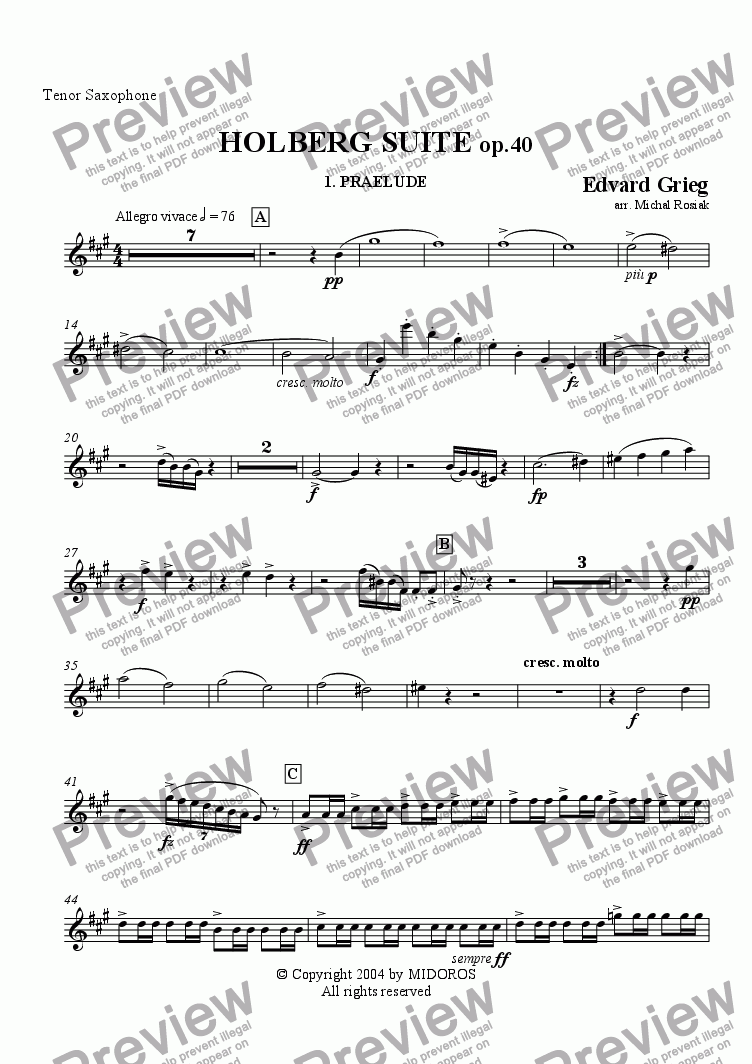 page one of the Tenor sax. part from Holberg Suite op.40 Prelude