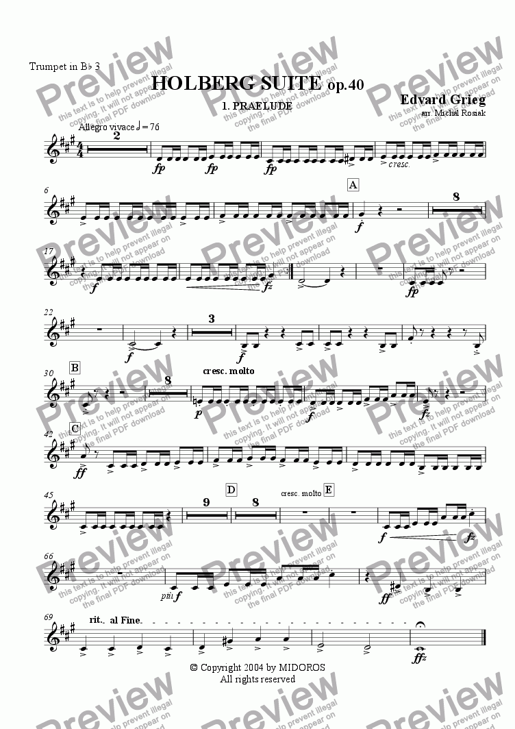 page one of the Trumpet 3 part from Holberg Suite op.40 Prelude