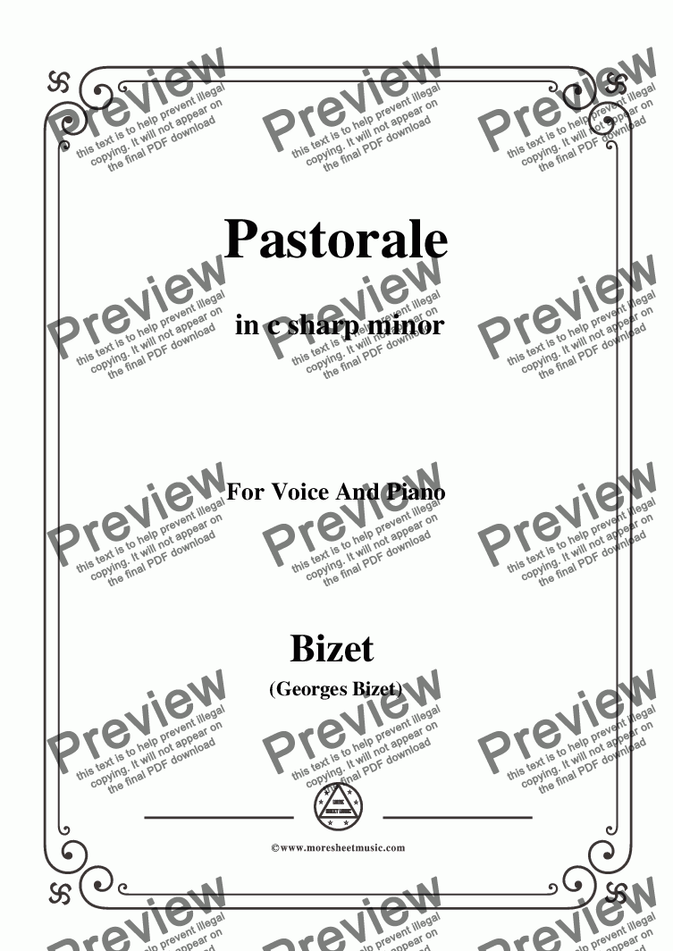 page one of the C01708W0007N09Bizet-Pastorale in c sharp minor - Full and part part from Bizet-Pastorale in c sharp minor,for voice and piano