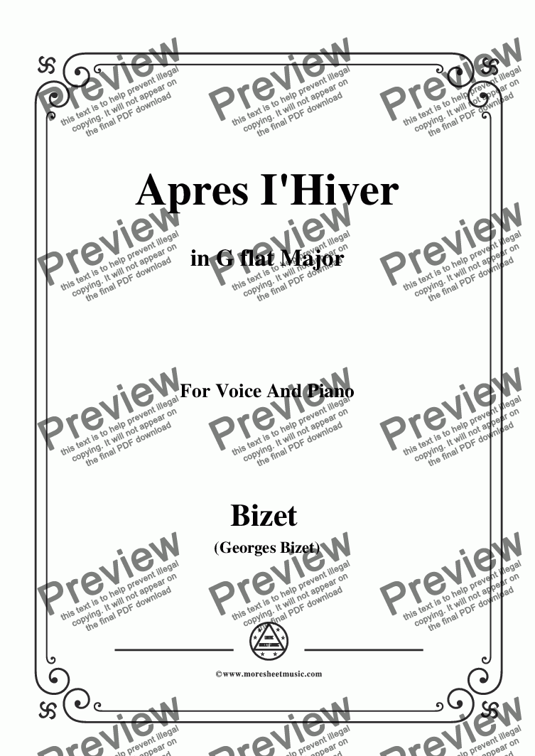 page one of the C01708W0010N09Bizet-Apres I'Hiver in G flat Major - Full and part part from Bizet-Apres I'Hiver in G flat Major,for voice and piano