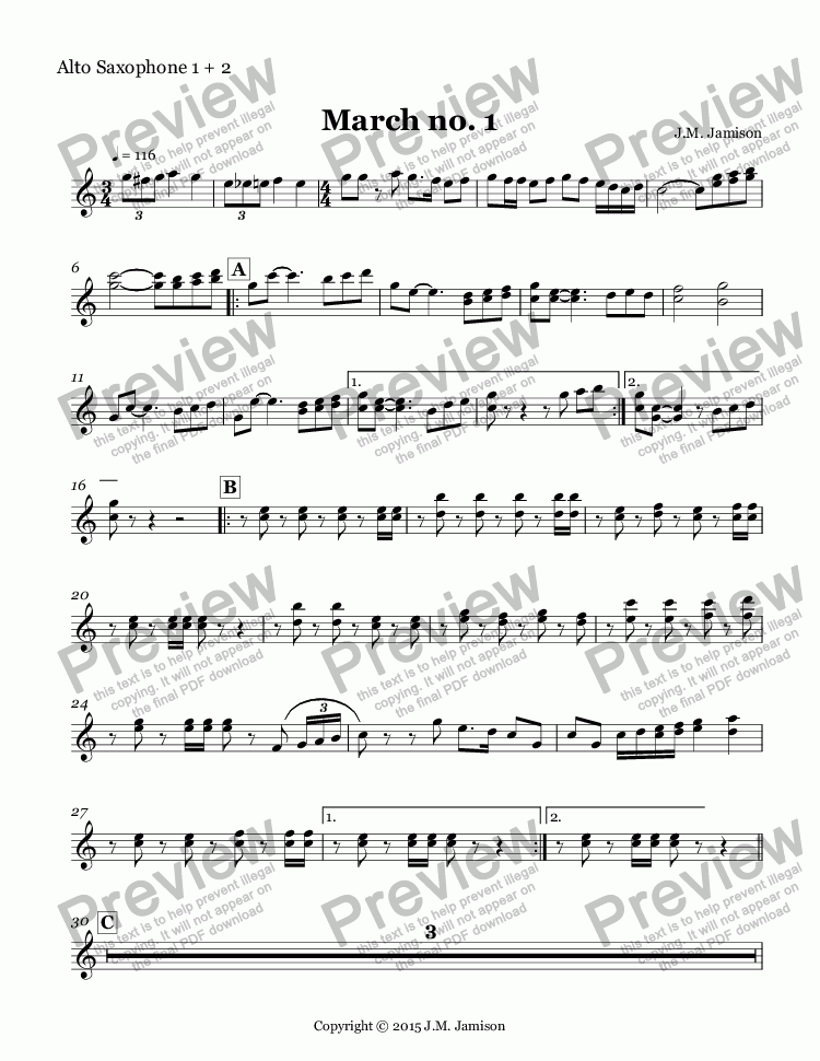 page one of the Alto Saxophone 1 + 2 part from March no. 1