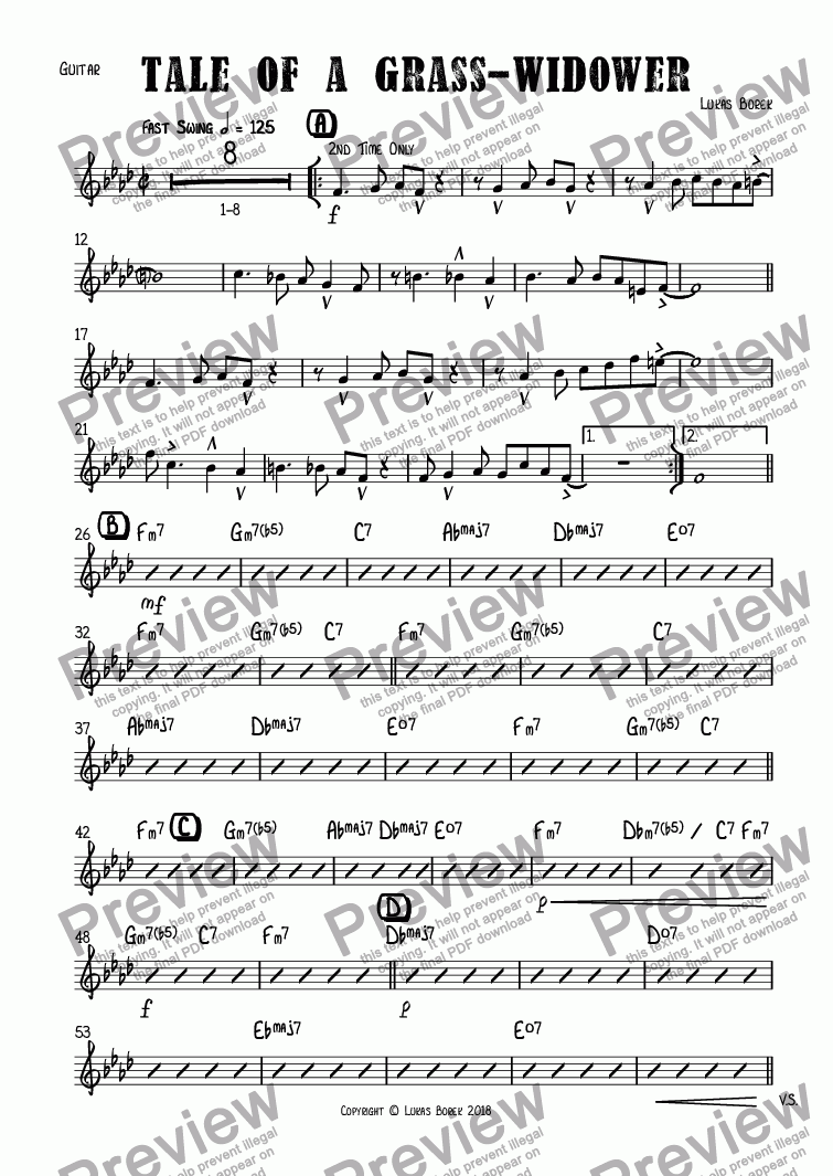 page one of the Guitar part from Tale Of a Grass-Widower