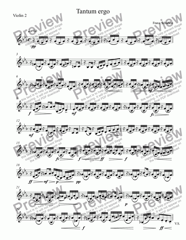 page one of the Violin 2 part from Tantum ergo