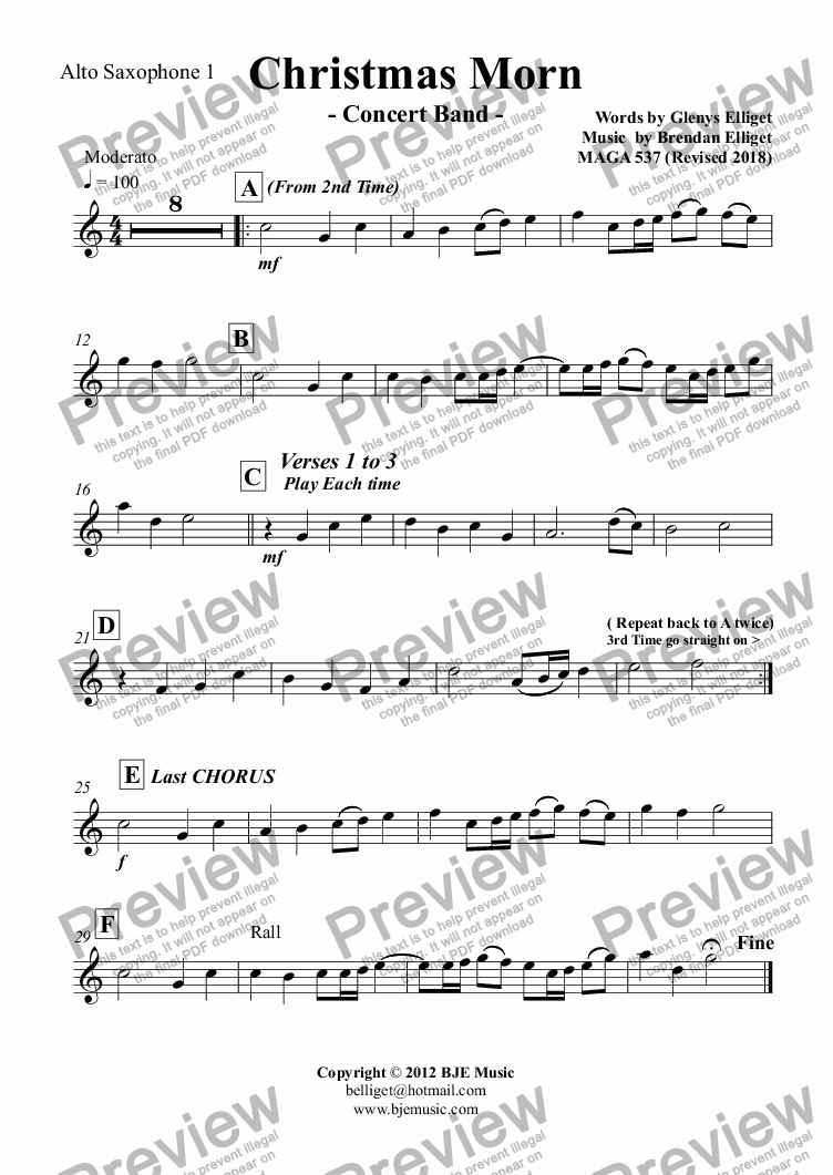 page one of the Alto Saxophone 1 part from Christmas Morn - Concert Band with Vocal