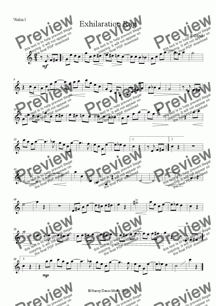 page one of the Exhilaration Rag - Violin I part from Exhilaration Rag