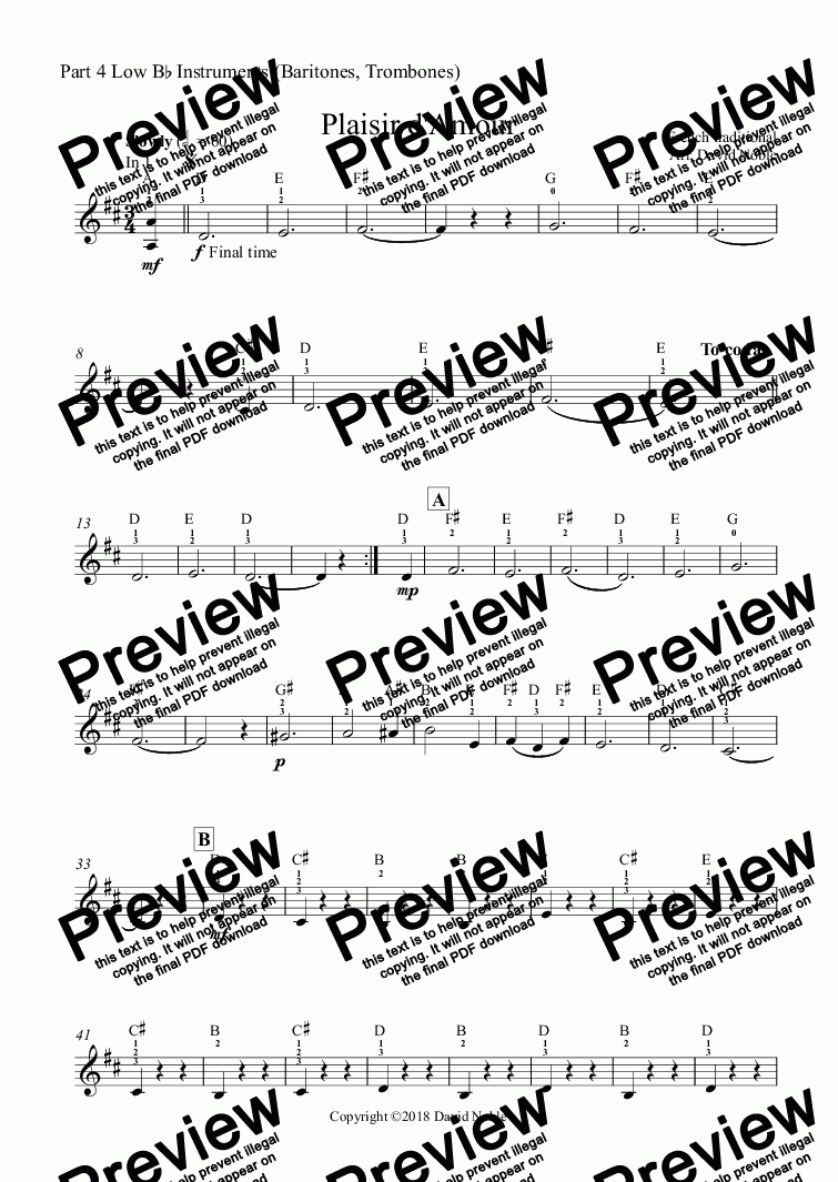 page one of the Part 4 Low B^b Instruments (Baritones, Trombones) part from Plaisir d'Amour for school band