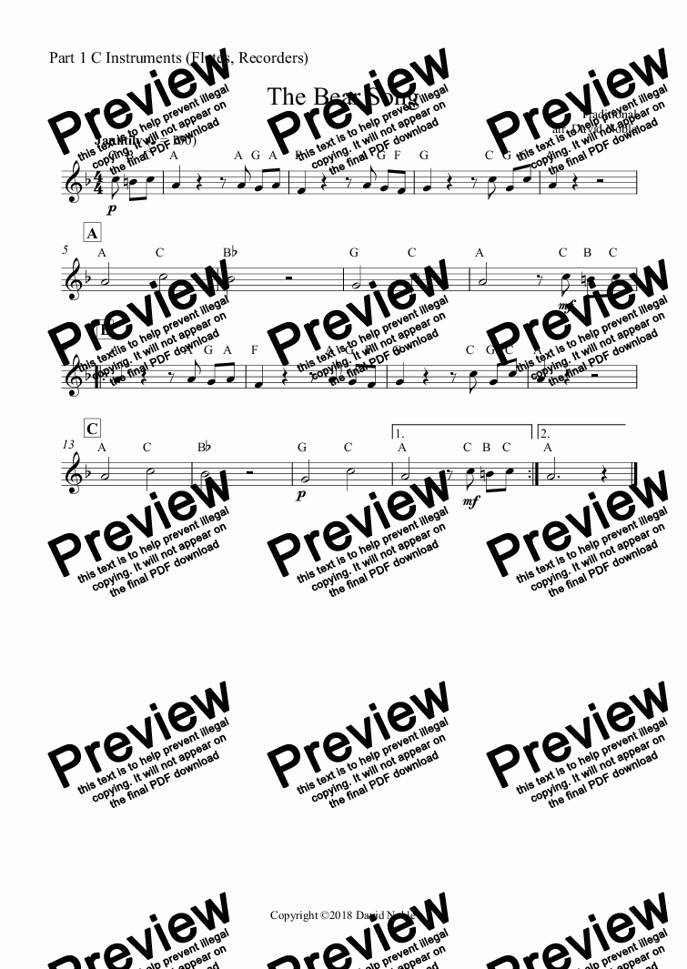 page one of the Part 1 C Instruments (Flutes, Recorders) part from The Bear Song for school band