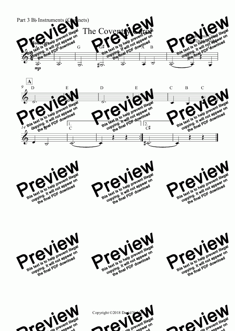 page one of the Part 3 B^b Instruments (Clarinets) part from The Coventry Carol for school band