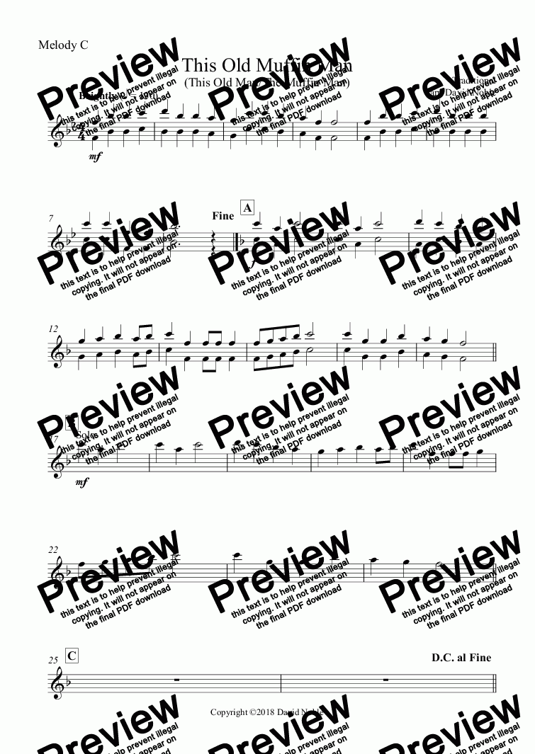 page one of the Melody C part from This Old Muffin Man for school band