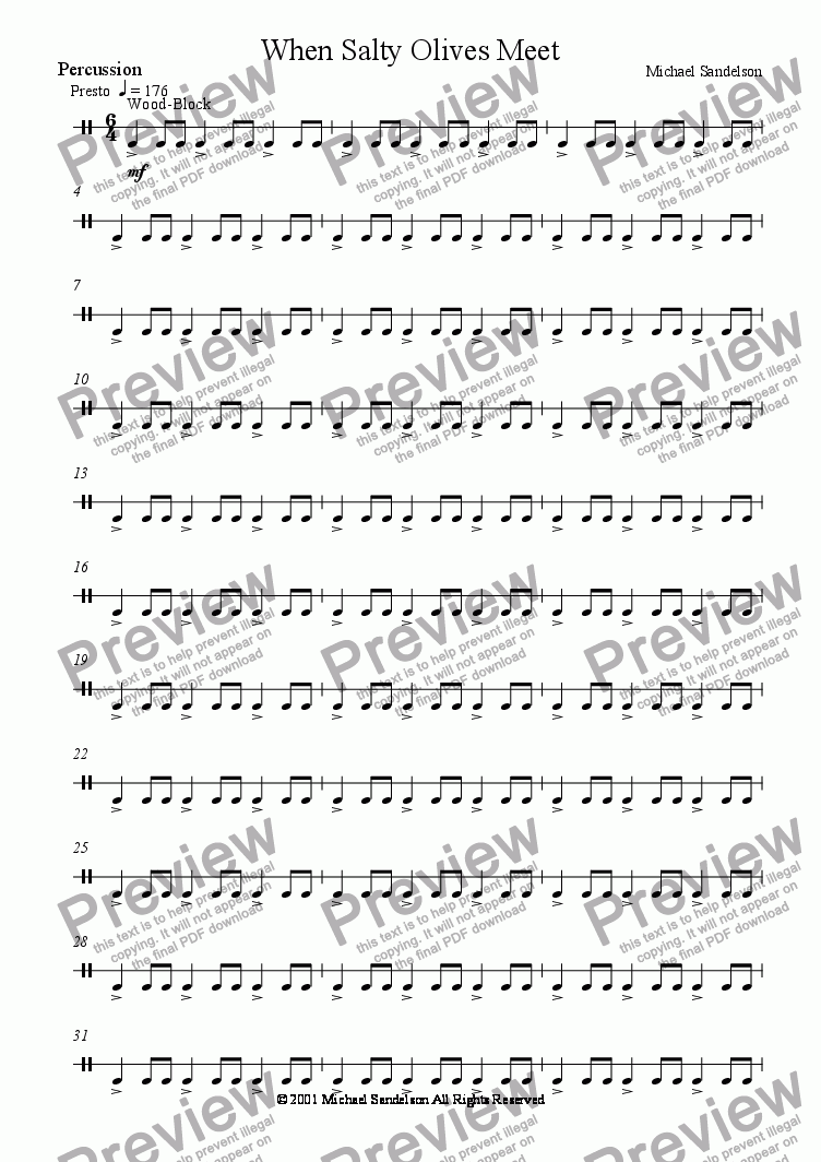 page one of the Percussion part from When Salty Olives Meet