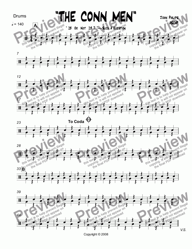 "page one of the Drums part from ""THE CONN MEN""  Trombone Section Feature"