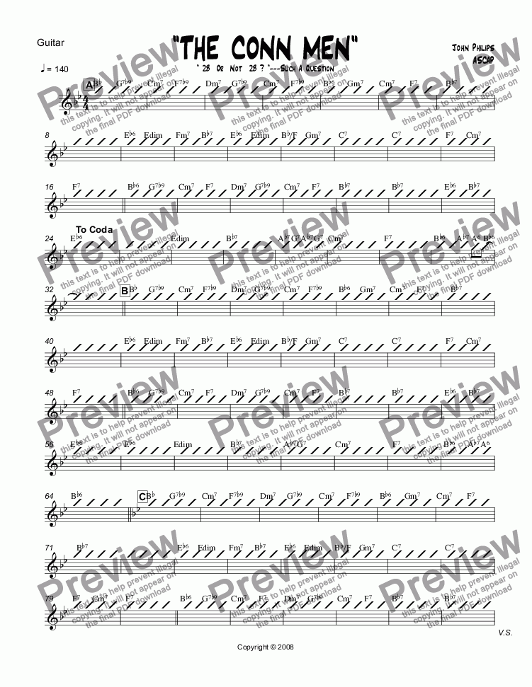 "page one of the Guitar part from ""THE CONN MEN""  Trombone Section Feature"