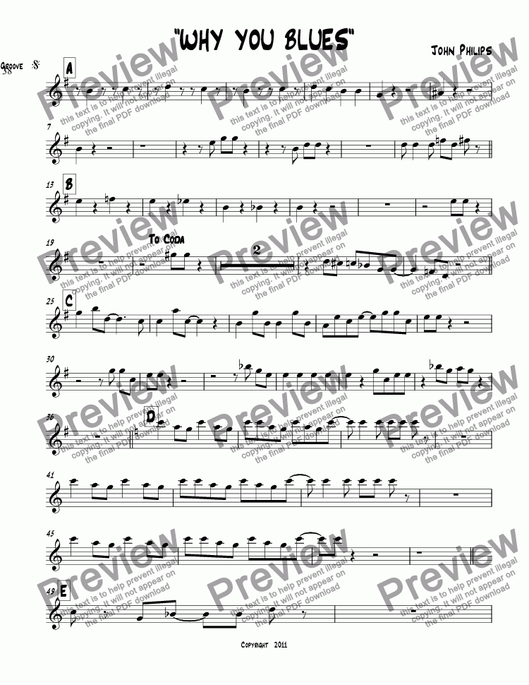 "page one of the Alto 2 part from ""WHY YOU BLUES"""