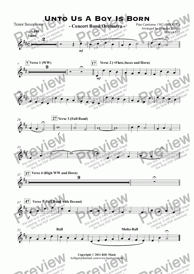page one of the Tenor Saxophone part from Unto Us A Boy Is Born - Concert Band/Orchestra -