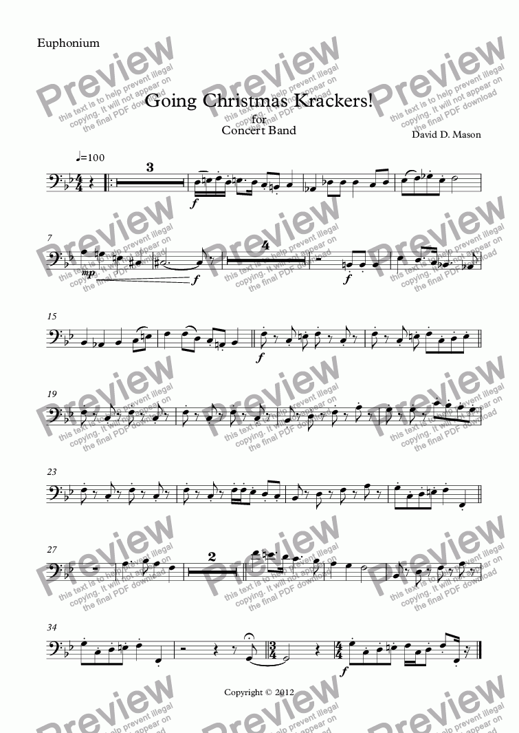 page one of the Euphonium part from Going Christmas Krackers!