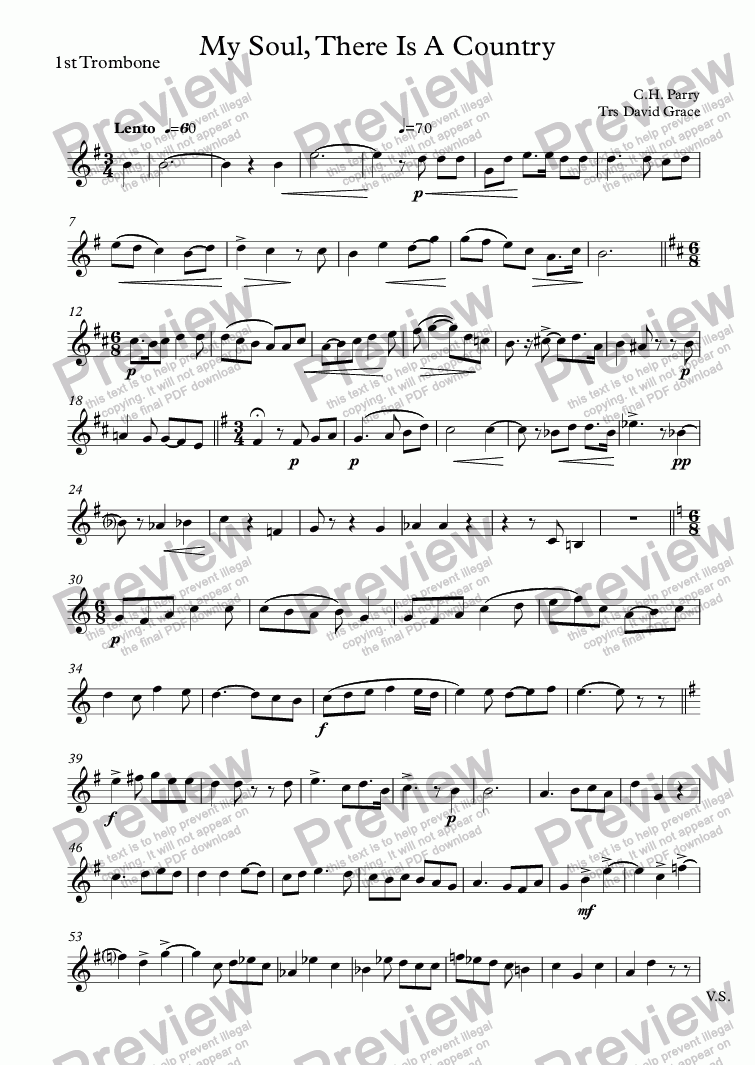 page one of the 1st Trombone part from My Soul, There Is A Country