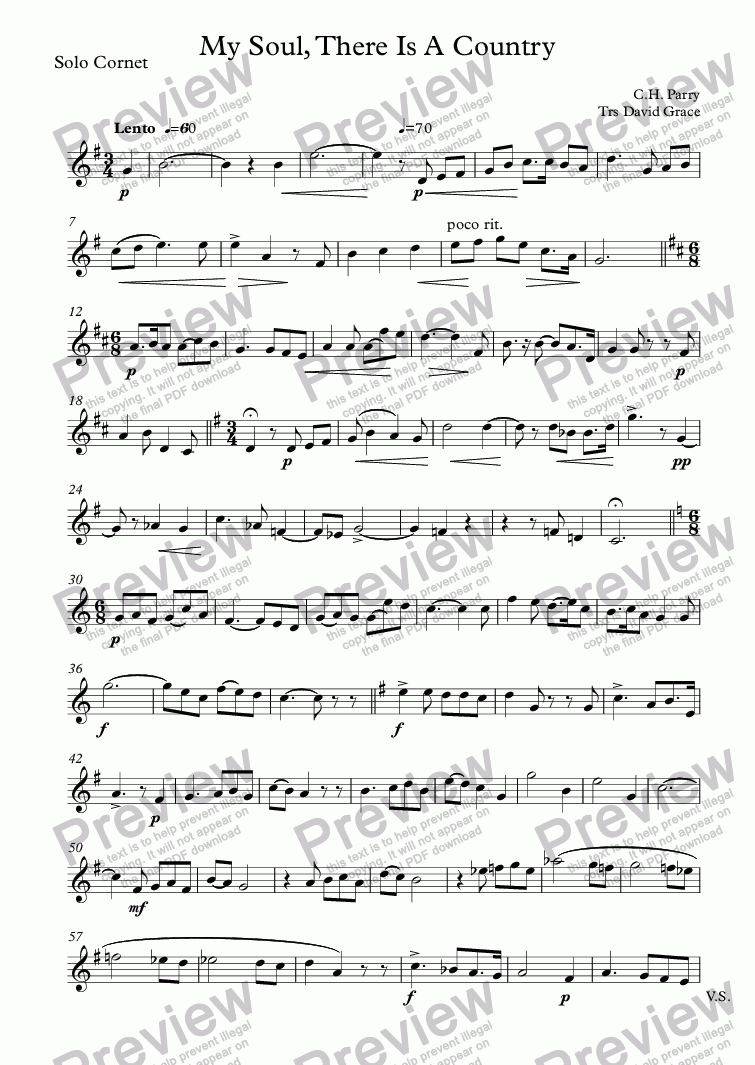 page one of the Solo Cornet part from My Soul, There Is A Country