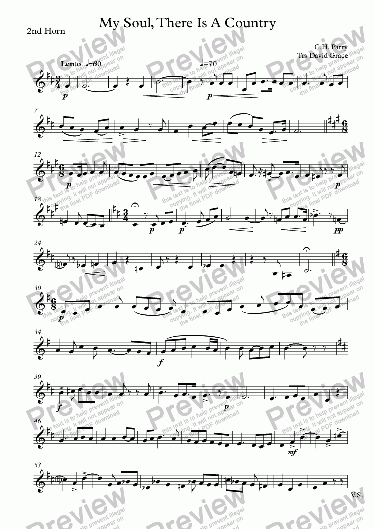 page one of the 2nd Horn part from My Soul, There Is A Country