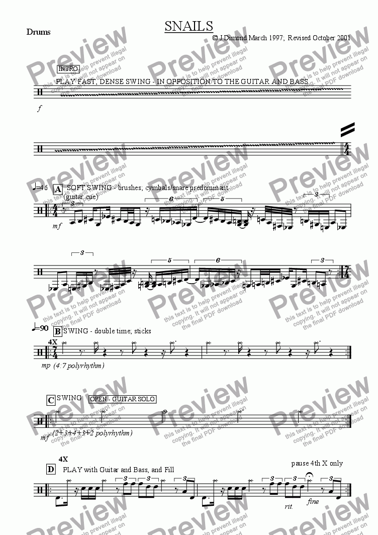 page one of the Drums part from Snails