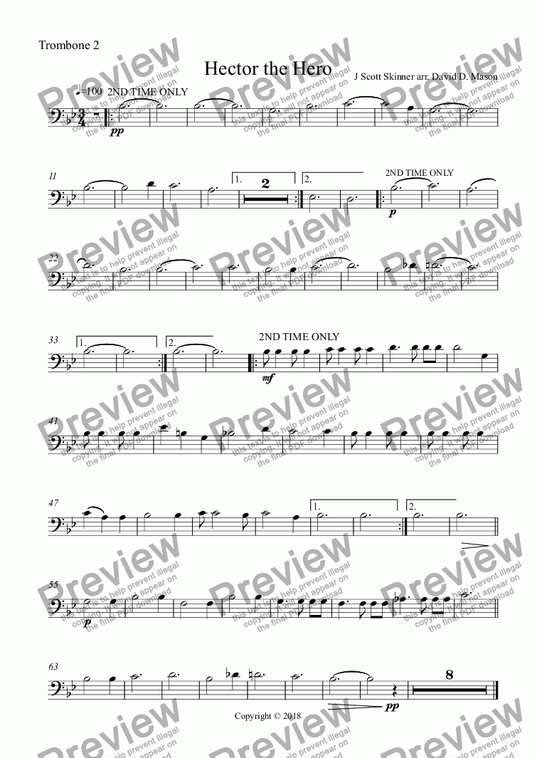 page one of the Trombone 2 part from Hector the Hero,   Concert Band +Scottish Bagpipes