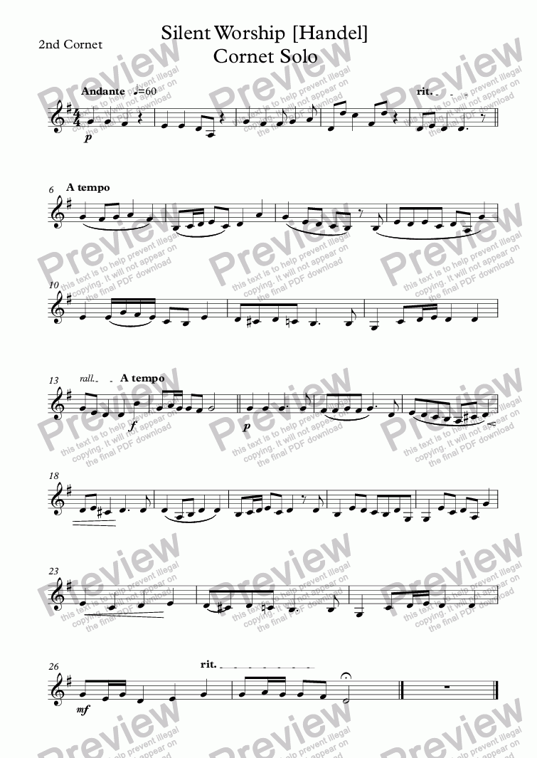 page one of the 2nd Cornet part from Silent Worship [Handel]  Cornet Solo