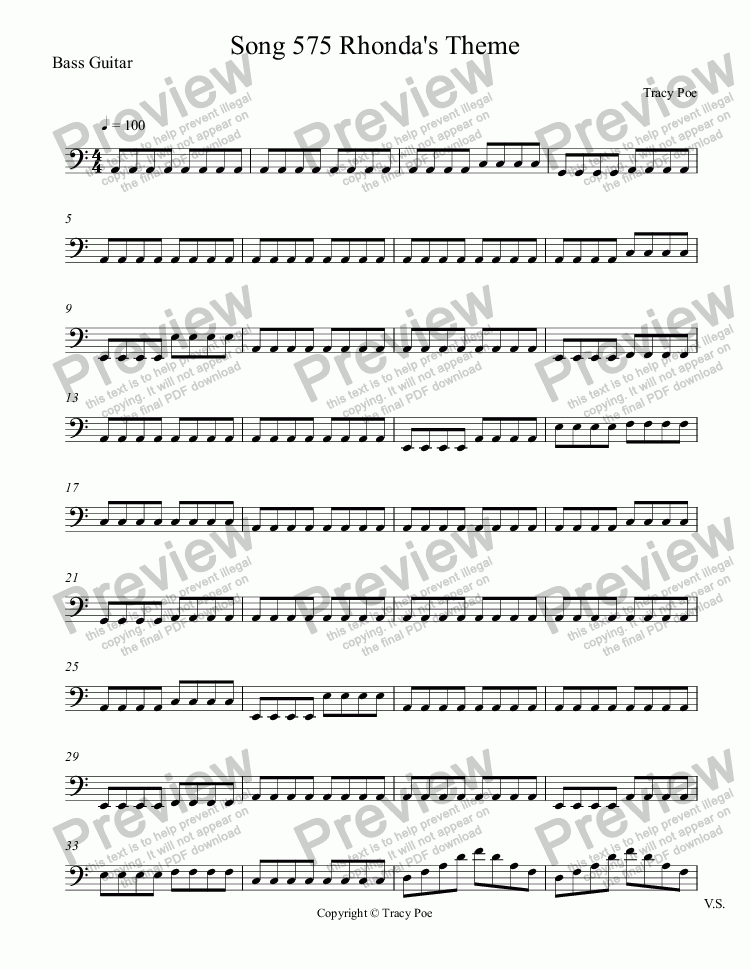 page one of the Bass Guitar part from Song 575 Rhonda's Theme