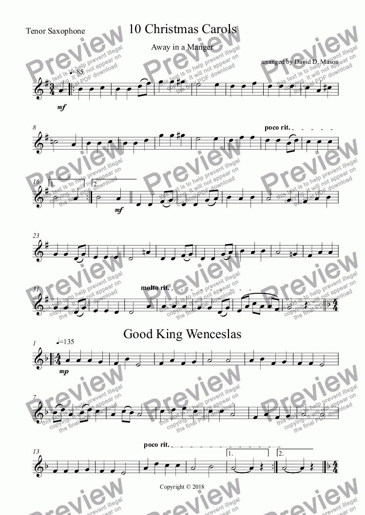page one of the Tenor Saxophone part from 10 Christmas Carols,   Alto,Alto, Tenor Sax Trio