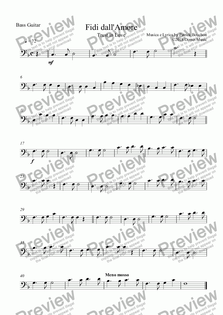 page one of the Bass Guitar part from Fidi dall'Amore (Trust in Love) for Vocal Duet and Orchestra